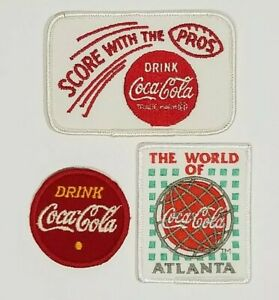 3 Vintage Coca Cola Patches Embroidered Cloth Score With The Pros New Old Stock
