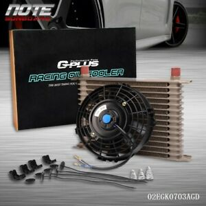 15 Row Universal Engine Transmission 10an Oil Cooler 7 Electric Fan Kit