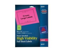 Avery Color Permanent Laser Full sheet Labels 5975 8 1 2 X 11 pack 15 Brand New