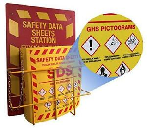 Bilingual Right To Know Sds Center Wire Rack And 3 Binder With Ghs Pictograms