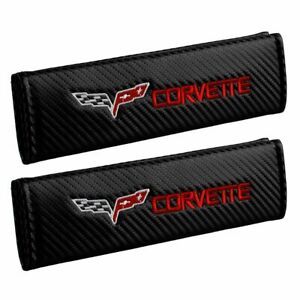 Corvette Embroidered Seat Belt Cover Shoulder Pads Carbon Fiber Look