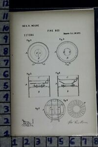 1871 Moore Philadelphia Pa Coal Stove Grate Cook Industry Patent Litho 117194