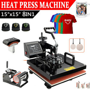 8 In 1 Heat Press Machine For T shirts 15 x15 Combo Kit Sublimation Swing Away