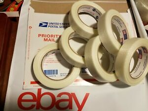 6 Rolls 1 X 60 Yds Fiberglass Reinforced Filament Strapping Packing Tape Clear