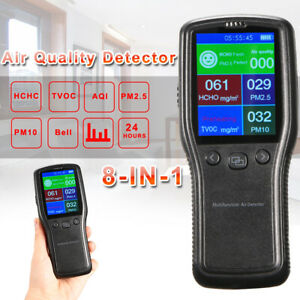 Indoor Air Quality Monitor Pm2 5 Pm10 Hcho Tvoc Lcd Digital Detector 8in1 Us