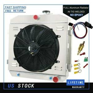3 Row Radiator Shroud Fan Thermostat For 1955 1957 Chevy Bel Air Nomad V8