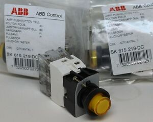 4 New Abb Illuminated Pushbutton Switches Sk 615 219 dc Yellow