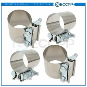 3 Ss Butt Joint Clamp Sleeve Coupler Exhaust Stainless Steel T 304 4pcs