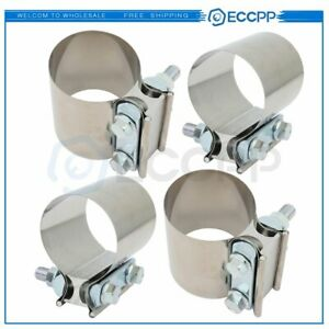 2 5 Ss Butt Joint Clamp Sleeve Coupler Exhaust Stainless Steel T 304 4pcs