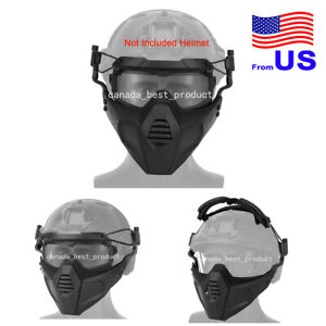 Airsoft Tactical Paintball Half Face Protection Mask and Goggles Set BK USA $28.79