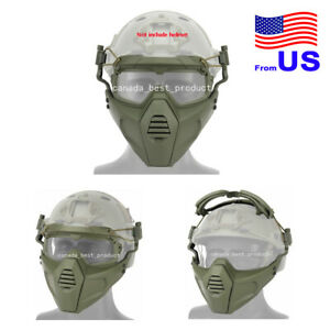 Airsoft Tactical Paintball Half Face Protection Mask and Goggles Set Green USA $28.79