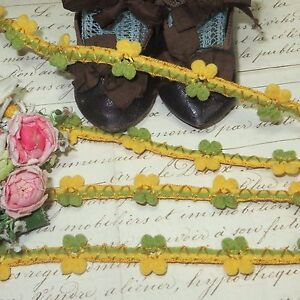 3y Vtg Rococo Rosette Trim Doll Dress Yellow Gold French Hat Antique Jacquard