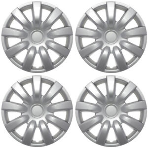 Set 4pc Silver Hub Caps Fits 2000 2005 Toyota Camry 15 Metal Clips Wheel Covers