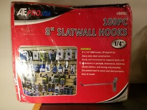 New 8 Slat Wall Hooks Chrome Finish Box Of 100 Slatwall Hooks 1 4