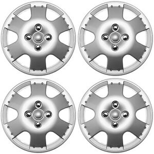 4 Pc Silver Hub Caps Fits 2000 2005 Toyota Echo metal Clip Wheel Cover Cap