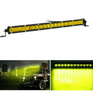 20inch Yellow Slim Led Work Light Bar Single Row 400w Car Suv Truck Offroad Lamp