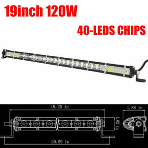 7d 19inch Single Row Super Slim Led Work Light Bar Car Off Road Truck Suv 400w