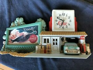 Coca Cola Wall Clock - 3D Gas Station/Route 66 Vintage Collectible