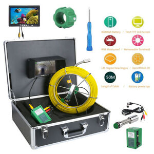 7 Lcd Pipe Inspection Pipeline 50m Drain Sewer Waterproof Camera 145