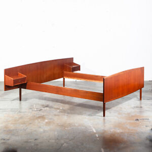 Mid Century Danish Modern Bed Frame Headboard Full Sz Teak Floating Nightstands