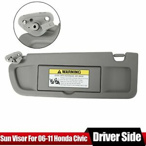 For Honda Civic 2006 07 08 2009 2011 Left Driver Warm Gray Sunvisor Sun Visor