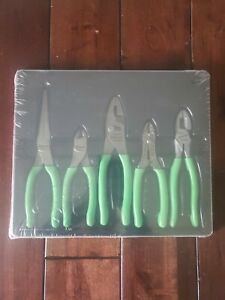 New Snap On Pl500gsg 5 Piece Pliers Set W Tray Green Handle Free Shipping