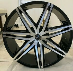 24 Inch Gloss Black Machined Face Wheels Rims Milled 20 22