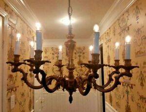 Antique 1930s Stately Heavy Bronze Brass 8 Arm French Chandelier