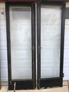 Large Antique Commercial Doors Brass Metal Glass Acrhitecual Salvage