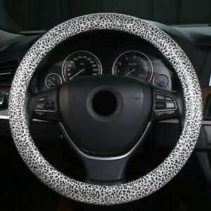 New 38cm Pu Leather Car Steering Wheel Cover Leopard Print Non Slip Breathable