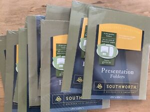 Lot Of 8 Plus 1 Free Southworth Presentation Folders 9 X 12 Forest Green New