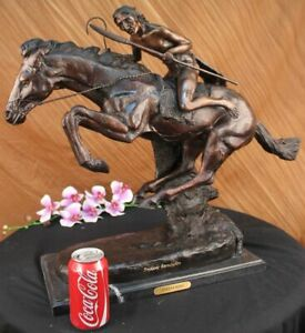 Large Vintage Bronze Sculpture The Cheyenne By Frederic Remington 27 Figure
