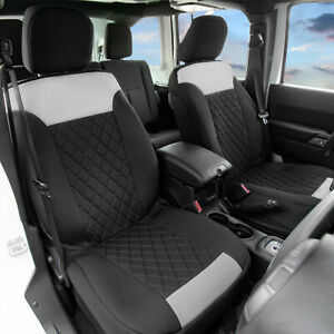 Front Bucket Seat Covers Pair Neosupreme For Auto Car Suv Gray Black
