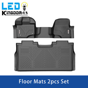 2x Floor Mats For 2015 2020 Ford F 150 Super Crew Cab Front Rear Bench Seats Set