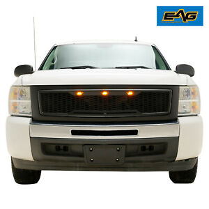 Eag Led Mesh Abs Grille Upper Grill Fit For 2007 2013 Chevy Silverado 1500