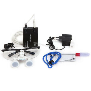 usa Dental Loupes 2 5x 420mm Surgical Binocular Led Head Light Lamp Carry Case