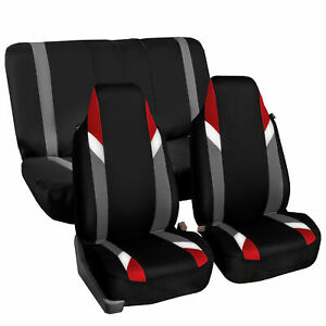 Highback Universal Seat Cover Full Set For Auto Suv Car Red Black