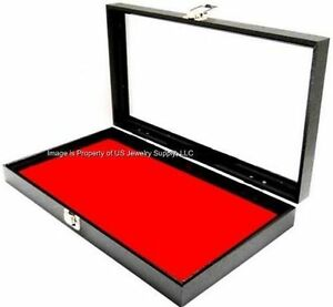 Key Locking Glass Top Lid Red Pad Storage Display Case Medals Pins Jewelry Knife