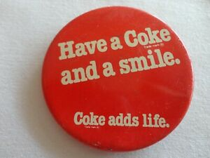 HAVE A COKE AND A SMILE COCA COLA PIN BADGE BUTTON GUARANTEED AUTHENTIC VINTAGE!
