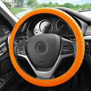 Silicone Steering Wheel Cover Nibs Sturdy Massage Grip Orange For Auto