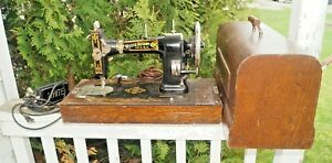 Antique 1905 1910s Era White Rotary Sewing Machine W Case Key Beauty Look