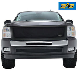 Eag Fit For 07 13 Chevy Silverado 1500 Grille Black Stainless Steel W abs Shell