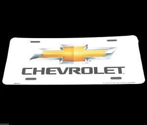 Chevrolet Bow Tie Chevy Licensed White Aluminum Metal License Plate Sign Tag