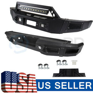 For Ford F150 09 14 Steel Front Rear Bumper Guard W Lamp Black