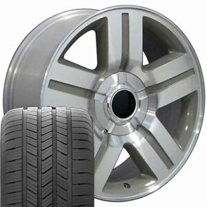 Silver Machined 20 5291 Wheels Tires Fit Silverado Tahoe Texas Style