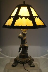 Vintage 1950s Era Bronze Figural Slag Glass Art Deco Electric Table Lamp