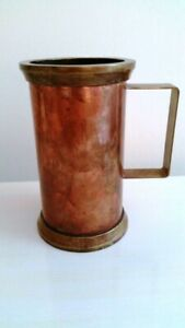 Antique Handforged Arts And Crafts Brass And Copper Tankard Vase
