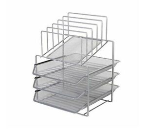 Mesh Desk Organizer Metal File Holder Mail Sorter 5 Racks And 3 Trays Home Of