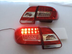 For 2011 2013 Toyota Corolla Altis Red Clear Led Brake Signal Tail Light Pair