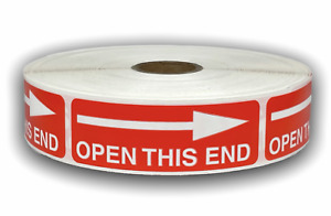 1 Roll Open This End Hwc Fragile Shipping Stickers 1 X 3 300 Labels